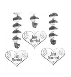 Hangdecoratie Just Married 3 stuks