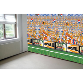 Oranje voetbalstadion muur versiering 240x180cm