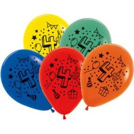 Cijfer vier ballonnen 7 stuks 30cm