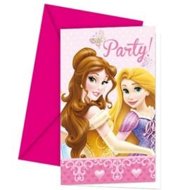 Prinsessen uitnodigingen 6 stuks
