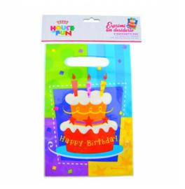 Verjaardag uitdeelzakjes plastic 6 stuks