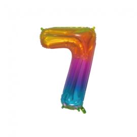 Regenboog zeven folie ballon 76cm
