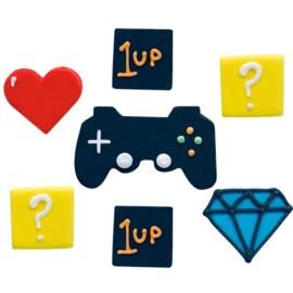 Computergame taart toppers snoep 7 stuks