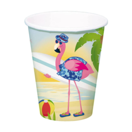 Flamingo bekers 8 stuks 350ml