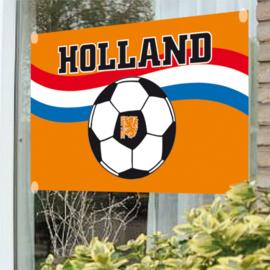 Oranje voetbal raamvlag 100x150cm