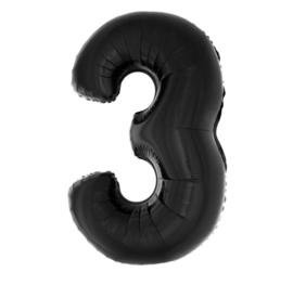 Folie ballon zwart drie 1m