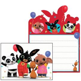 Bing konijn uitnodigingen kinderfeest 8 stuks