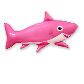 Happy Shark folie ballon roze 75cm