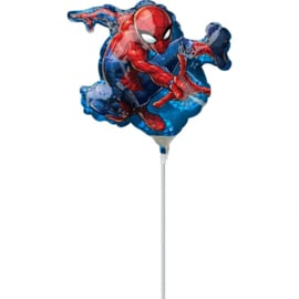 Spiderman folie ballon op stok  17x25cm