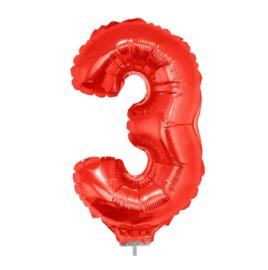 Folie ballon drie rood op stok 45cm