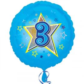 Cijfer drie folie ballon 35cm
