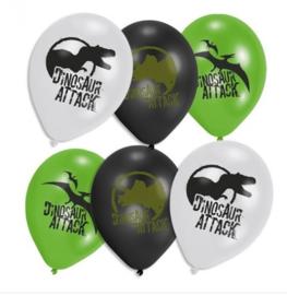Dinosaurus ballonnen 6 stuks 23cm