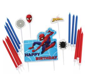 Spiderman kaarsen set taart 17 stuks