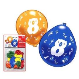 Cijfer acht ballonnen 10 stuks