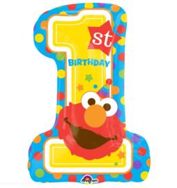Sesamstraat Elmo 1 jaar folie ballon 71cm