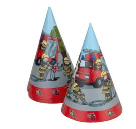 Brandweer feesthoedjes 8 stuks 15cm