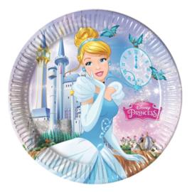 Prinsessen Cinderella borden 8 stuks 23cm