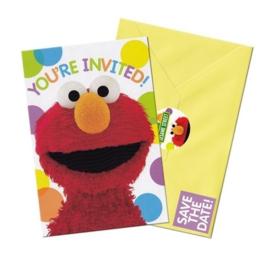 Sesamstraat uitnodigingen 8 stuks