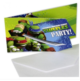 The ninja turtles uitnodigingen 6 stuks