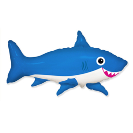 Happy Shark folie ballon blauw 75cm