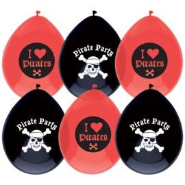 Piraten ballonnen 6 stuks