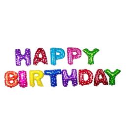 Folie ballon Happy Birthday gekleurde letters
