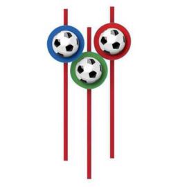 Voetbal rietjes 6 stuks