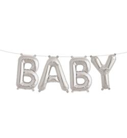 Folie ballon baby zilveren letters