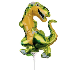 Dino folie ballon op stok 40cm