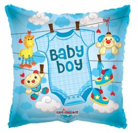 Geboorte jongen waslijn folie ballon 45cm