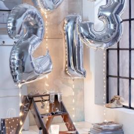 Folie ballon één zilver 1m