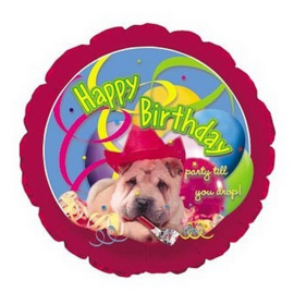 Hond happy birthday folie ballon 45cm