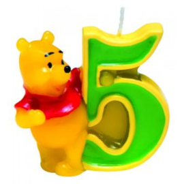 Winnie de Poeh taartkaars cijfer 5