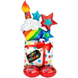 Opblaasbare cadeau verjaardag folie ballon 139cm