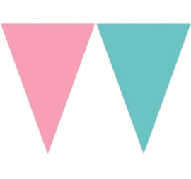 Vlaggenlijn roze turquoise 2,3m