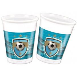 Voetbal bekers plastic 8 stuks