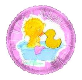 Geboorte meisje badeend folie ballon 45cm