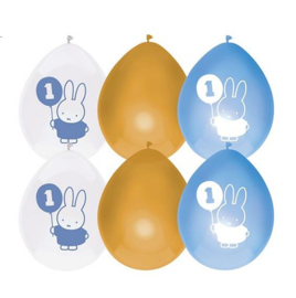 Nijntje ballonnen blauw 1 jaar 6st