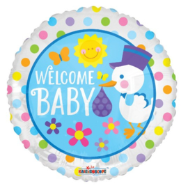 Welkom baby ooievaar folie ballon 45cm