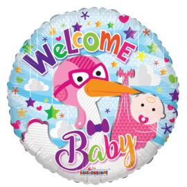 Welkom baby meisje folie ballon 45cm