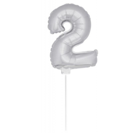 Folie ballon zilver twee 38cm