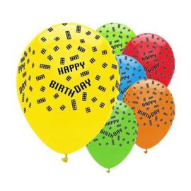 Bouwstenen ballonnen 6 stuks