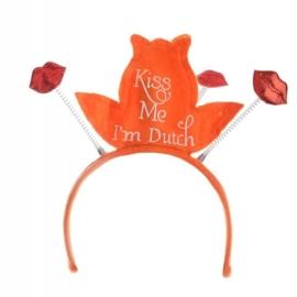 Tiara oranjefeest Kiss me I'm dutch