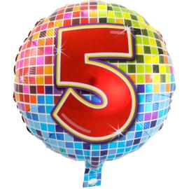 Cijfer vijf folie ballon 43cm