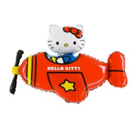 Hello Kitty folie ballon vliegtuig rood 61cm