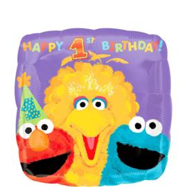 Sesamstraat eerste verjaardag folie ballon 45cm