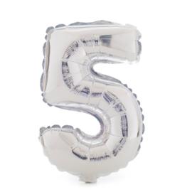 Folie ballon vijf zilver 1m