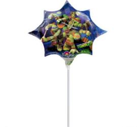 Turtles folie ballon op stok