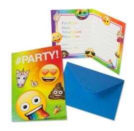 Emoji uitnodigingen 8 stuks met enveloppen