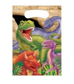 Dinosaurus feestzakjes plastic 8 stuks